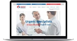 Urgent Specialists Website Home Page